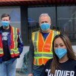 Volunteers wearing mask
