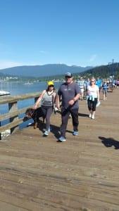 Couple walking on the bridge